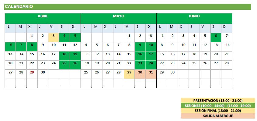 Curso Monitor Tiempo Libre calendario Semana Santa ARPA4
